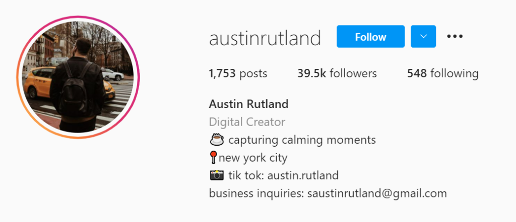 Austin Rutland example of good social media, instagram bio
