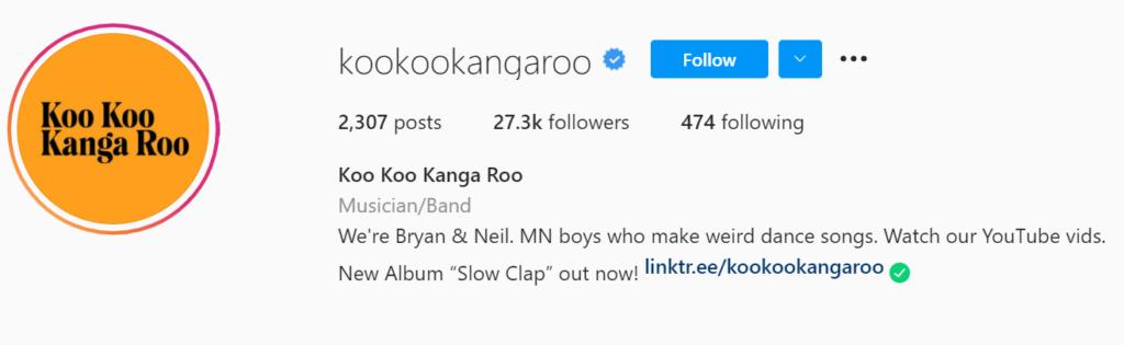Koo Koo Kanga Roo Instagram example profile