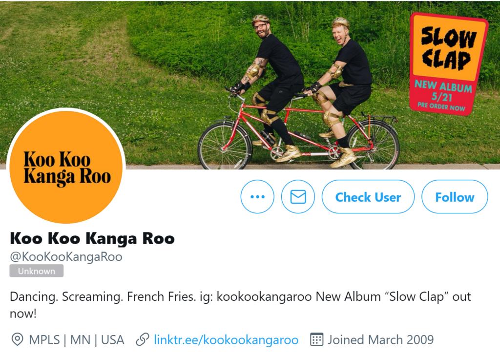Koo Koo Kanga Roo example profile for twitter