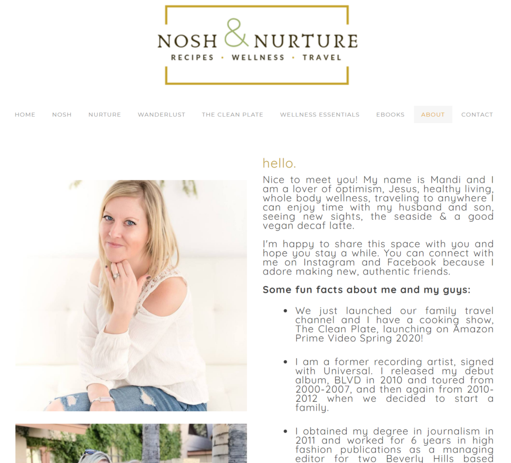 nosh & nurture about page is a good example to model for your content business.