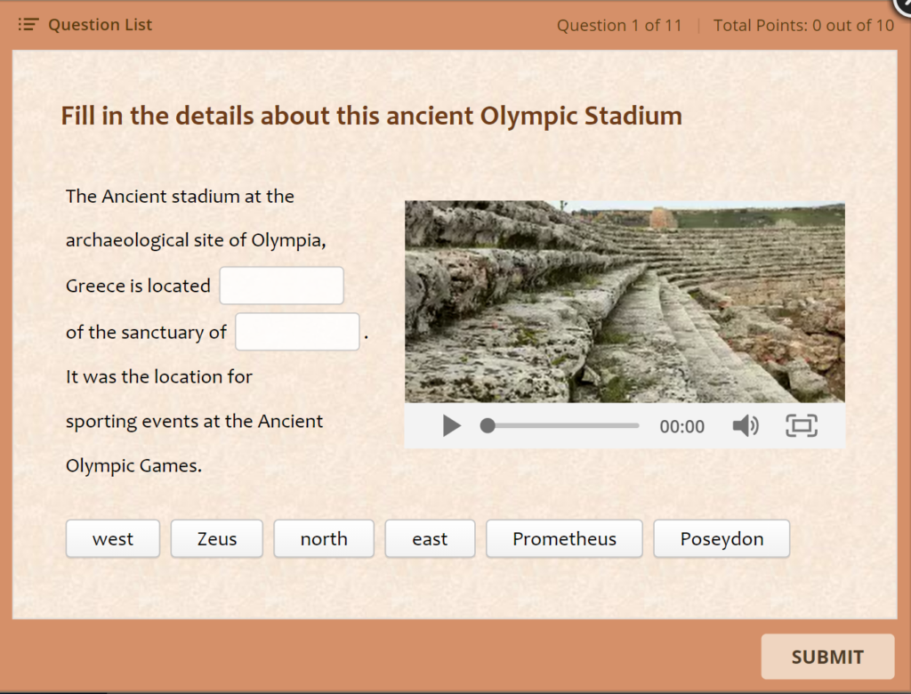 elaborate quiz example about the olympics for audience engagement