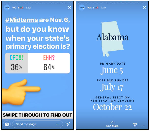 instagram 1-question quiz example for audience engagement