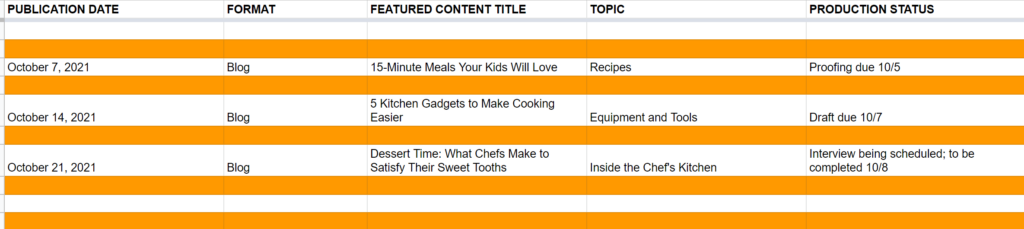 Sample editorial calendar for your content plan