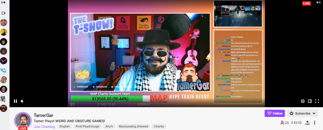 twitch channel tamer gar featuring the T show